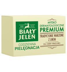 Biały Jeleń mydło z lnem Premium kartonik 100g